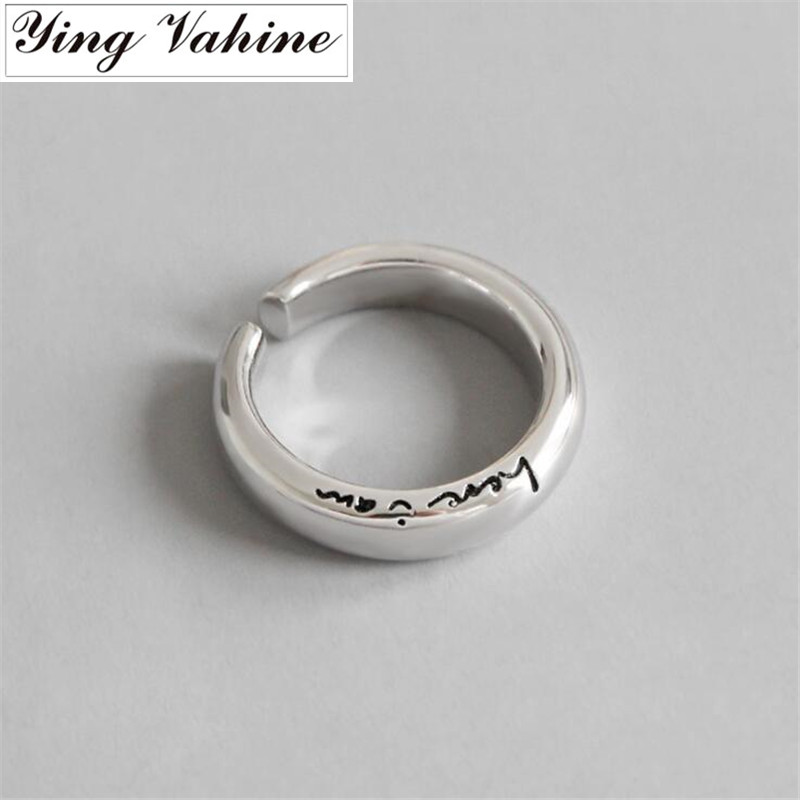 ying Vahine New Ring 925 Sterling Silver Romantic Love Letter here i am Open Rings for Women Jewelry Valentines Gift