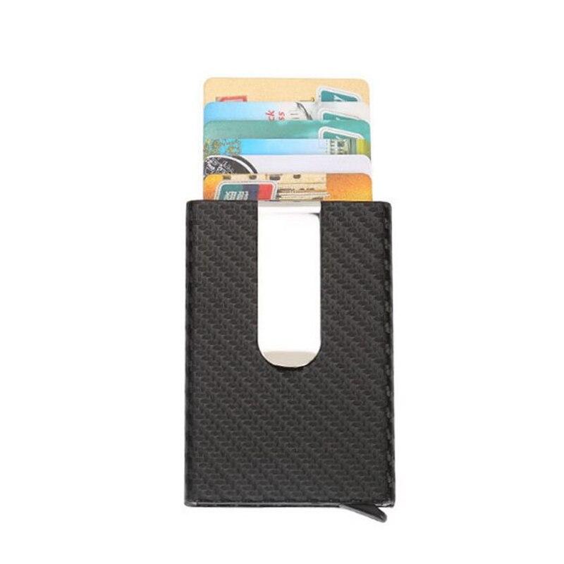 2019 Hot Sale Business Aluminum RFID Wallet Automatic Slide Card Case Carbon Fiber PU Leather Metal ID Credit Card Holder Clip slide wallet