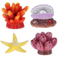 UEETEK 4Pcs Multicolor Non toxic Harmless Aquarium Decor Fish Tank Ornament Artificial Sea Star Corals Shell for Restaurant Home
