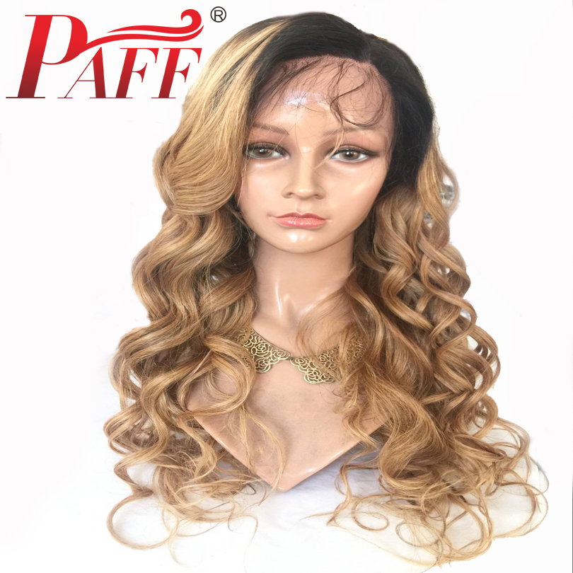 PAFF Ombre 1B 27 Color Body Wave Lace Front Human Hair Wigs 250% High Density Remy Brazilian Hair Pre Plucked Wig With Baby Hair