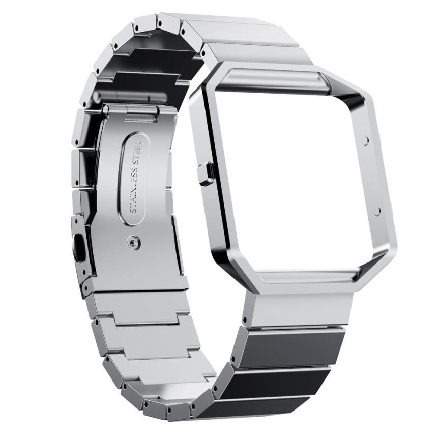 imágenes para Mejor precio de la Alta calidad Reloj Caja de Parachoques del Capítulo + Correa de pulsera de Acero Stailess Banda Para Fitbit DEC15 Blaze envío de la gota