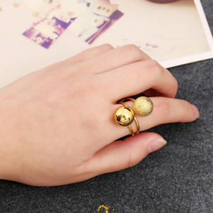Finger-Ring Simple-Ball Double-Beads Gold Adjustable Boho Women Best-Selling-Products