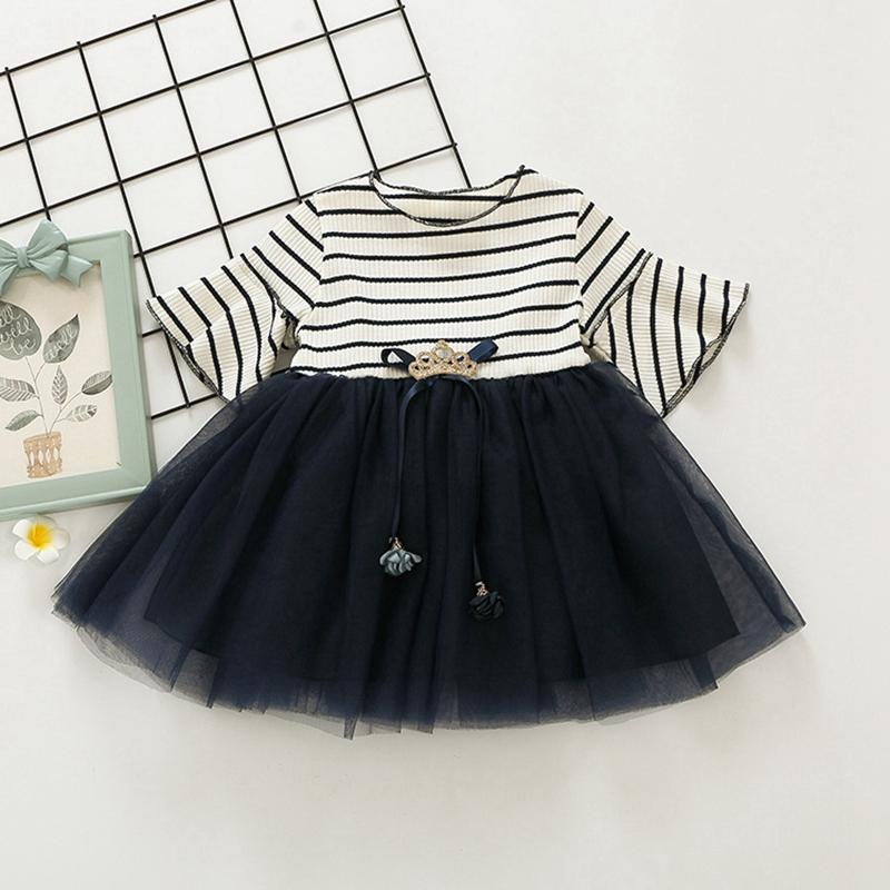 Summer Baby Flare Sleeve Striped Crown Lace Mesh Ball Gown Princess Party Dress Kids Girls Tutu