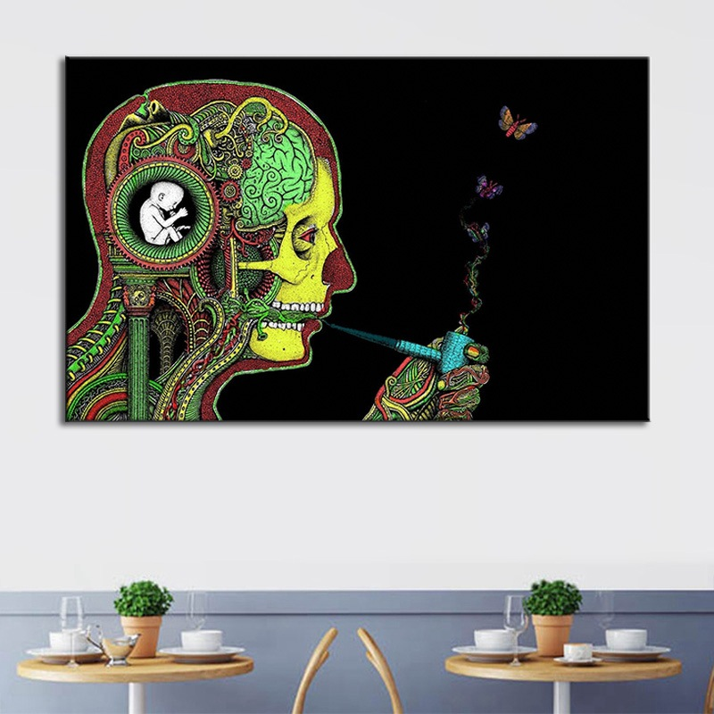Creativity Abstract Smoking Skeleton Canvas Painting Home Hotel Decoration Hanging Picture Frameless Wall Art Farmhouse Decor image