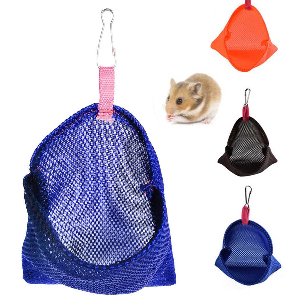 Nefes düz renk asılabilir küçük Pet yaz uyku çanta asılı yatak örgü kuş yuva asılı hamak oyuncak Hamster için kuş