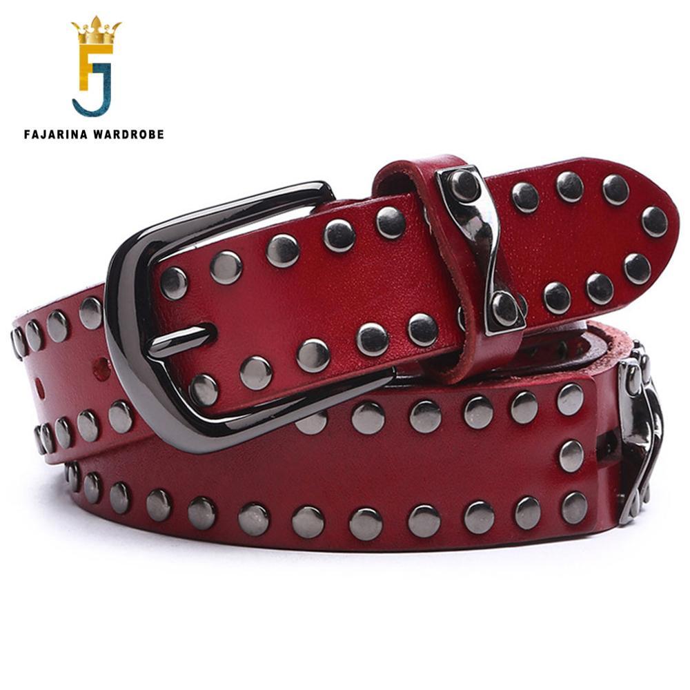 FAJARINA dames all-match rétro Styles femelle Rivet ceinture décorative qualité cuir de vachette ceintures pour femmes 3.2 cm de large AMS000-6