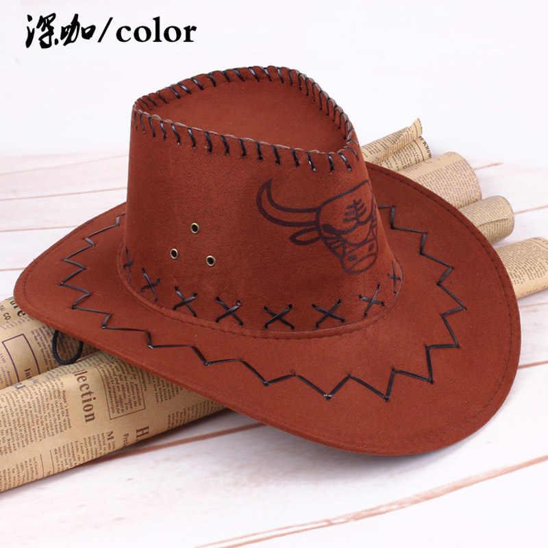 Westerse Amerikaanse Mens Cowboy Hoeden Brede Rand Reizen Zonnehoed Cowboy Cowgirl Faux Suede Triple Strings Chapeau Homme Cowboy