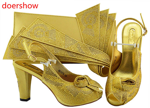 doershow Women Shoes and Bag Set In Italy gold Color Italian Shoes with Matching Bag Set for wedding !HH1-32 doershow gold shoe and bag set new 2018 women shoes and bag set in italy red color italian shoes with matching bags set ha1 15