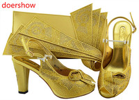 doershow Women Shoes and Bag Set In Italy gold Color Italian Shoes with Matching Bag Set for wedding !HH1 32