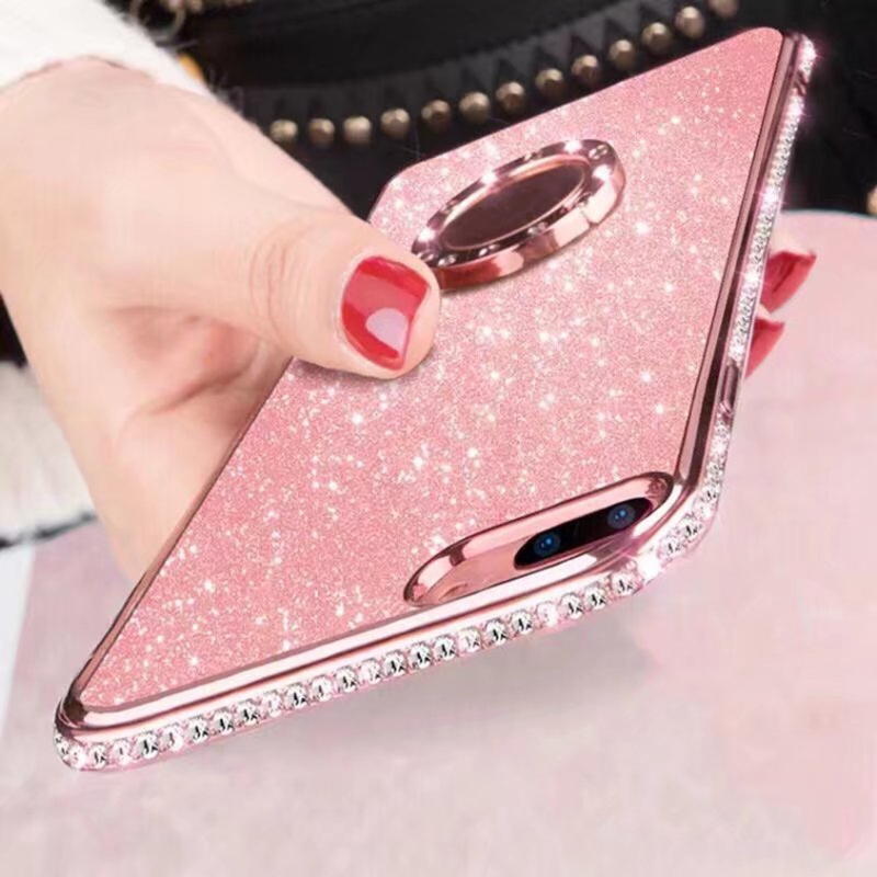 Glitter Diamond Magnetic Finger Ring <font><b>Case</b></font> For <font><b>Huawei</b></font> P30 Nova3 Nova3i P20 Lite Mate 10 <font><b>20</b></font> Lite Honor 7X 8X Cover Soft Phone Ring image