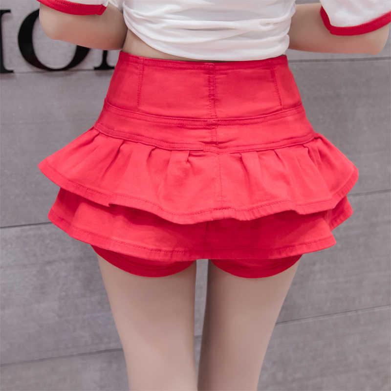 Джинсовые юбки-шорты с высокой талией для женщин 2019 летняя винтажная женская короткая джинсовая юбка Повседневная Универсальная юбка-пачка на одной пуговице для женщин