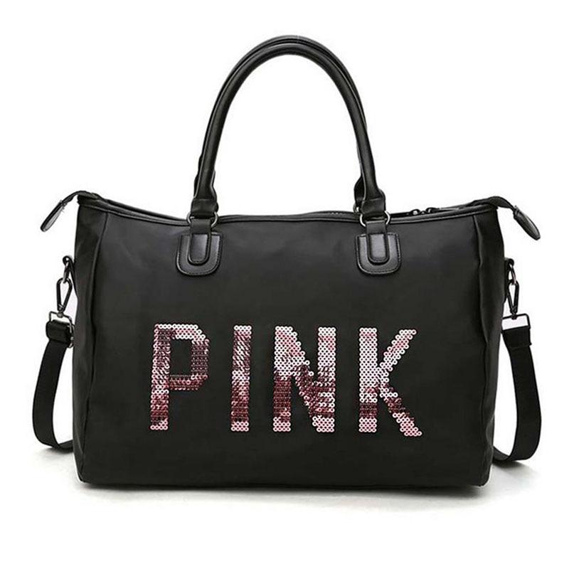 Men And Women Black Travel Bag Fashion Pink Sequin Shoulder Bag Ladies Handbag Ladies Weekend Portable Duffel Waterproof Washbag