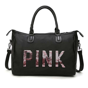 Men and women black travel bag fashion pink sequin shoulder bag ladies handbag ladies weekend portable Duffel waterproof washbag fashion checked and black design women s shoulder bag