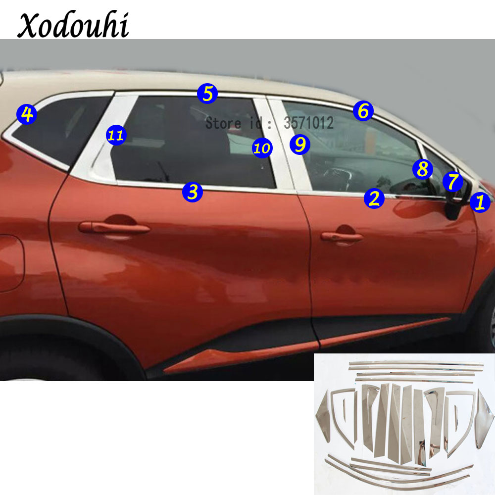 For Renault Captur 2015 2016 2017 car cover body stick stainless steel glass window garnish pillar middle column strip trim hot sell windows dedicated car modification for excelle gt 2015 2016 bright silver stainless steel window trim strip
