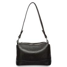 b44cef619 Zency 100% de cuero genuino de las mujeres de la moda bolsa de hombro Negro
