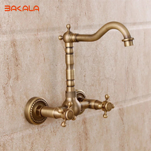Wall Mounted Two Handles Antique Brass Finish Kitchen Sink Bathroom basin Faucet mixer tap  GZ8118