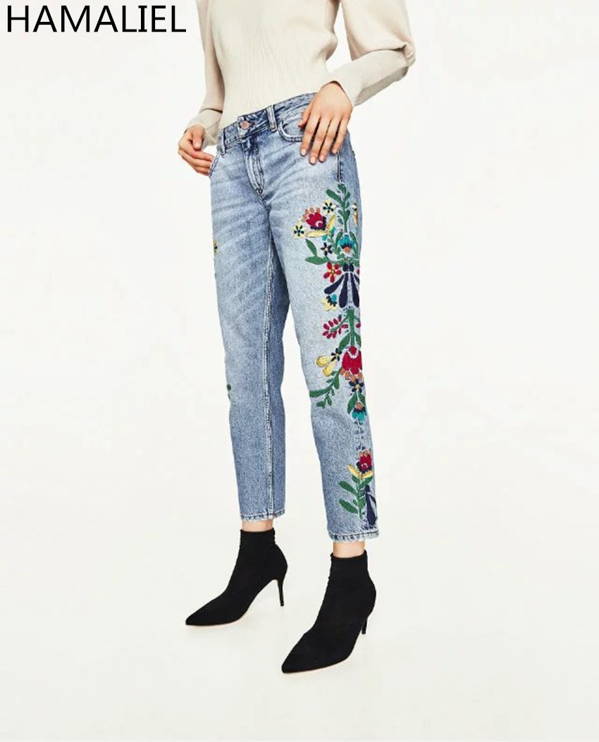 HAMALIEL High Quality Spring Summer Women Jeans 2017 Runway Embroidery Flower Pockets Skinny Blue Pencil Full Fength Dimin flower embroidery jeans female blue casual pants capris 2017 spring summer pockets straight jeans women bottom a46