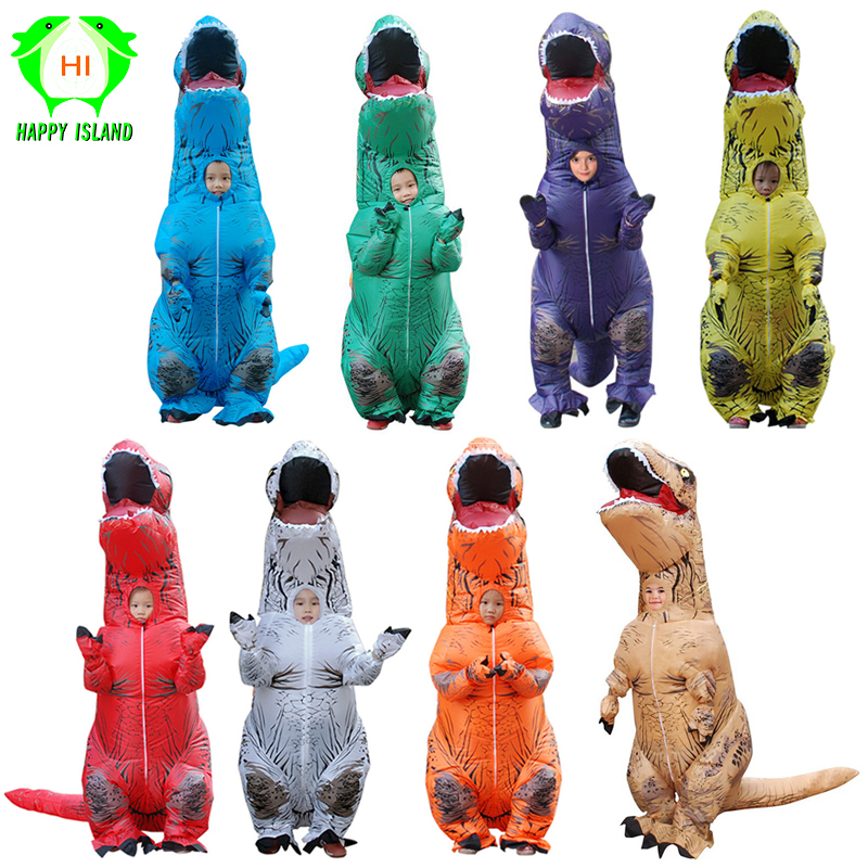 Children t rex Dinosaur Inflatable Costumes Halloween Inflatable Kids Costume Party Cosplay T REX Costume Adult Jumpsuit