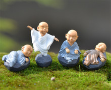 4PCs Chinese feng shui wealth Monks miniature Bonsai garden furniture resin craft Figurine fairy home decoration accessories