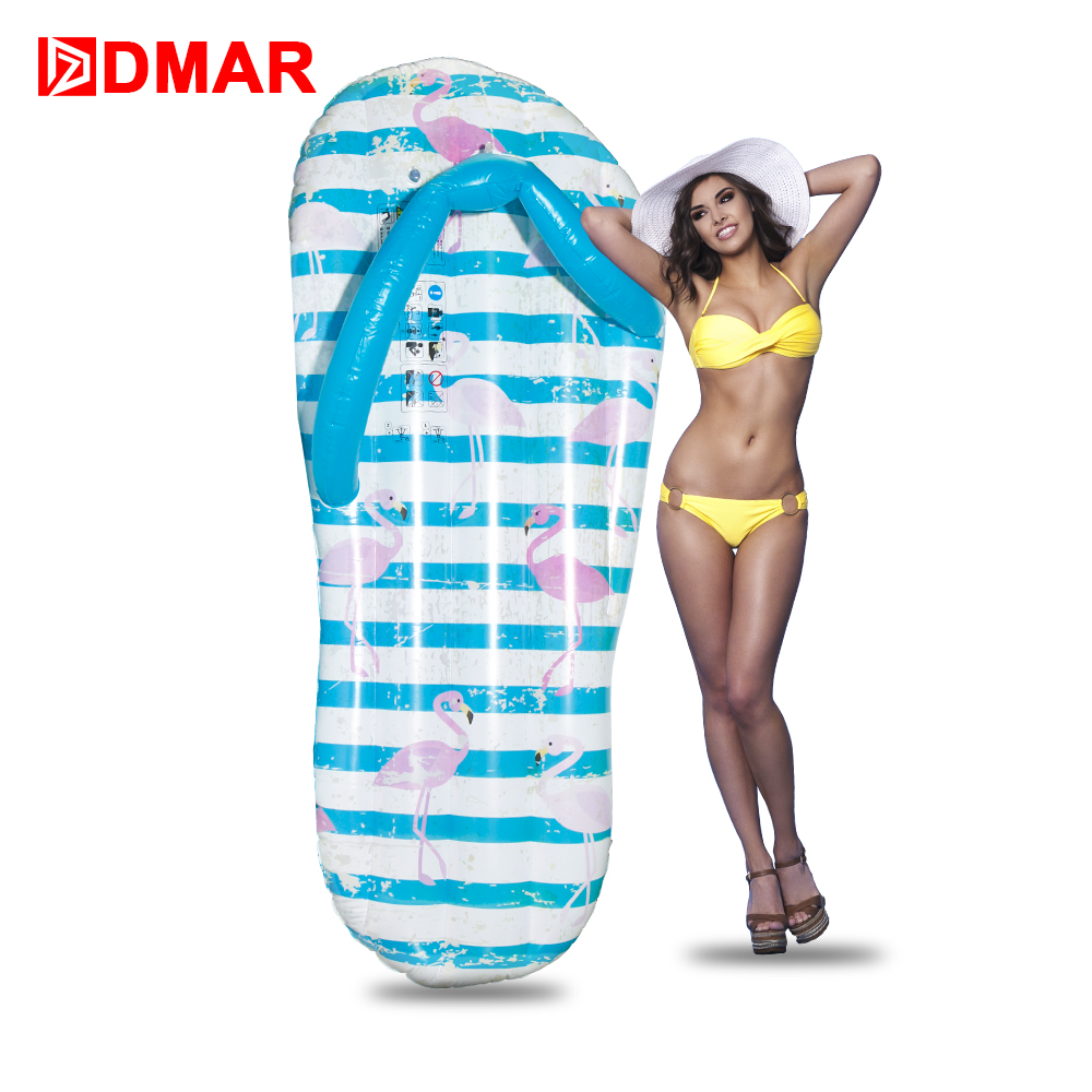DMAR Inflatable Flamingo Flip flop Giant Pool Float Inflatable Mattress Swimming Ring Circle Beach Sea Water Party Toys