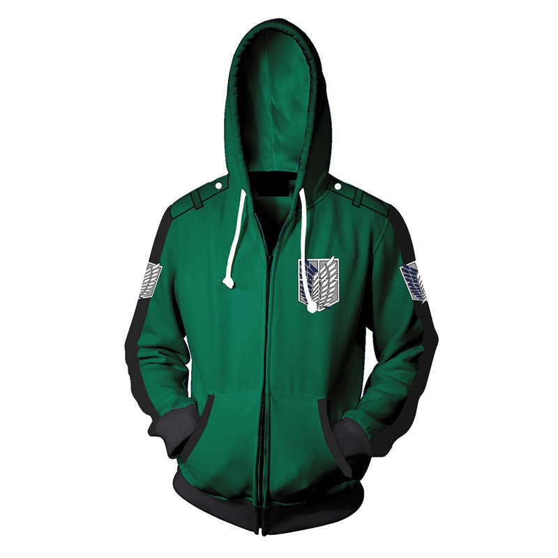Fans Wear Sweatshirt Shingeki No Kyojin Eren Yeager Zip Up Hoodie Attack on Titan Zipper Hooded Printed Hoodies