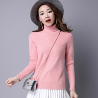 KJ221 High Quality Women Sweater New Turtleneck Pullover Winter Tops Female Solid Color Knitted Wool Sweaters