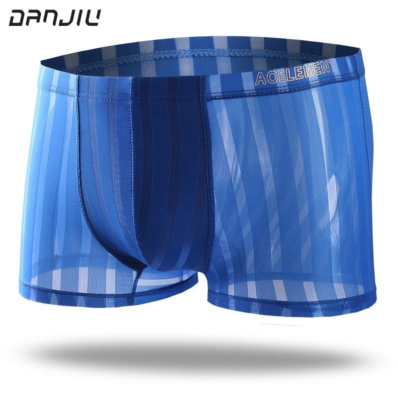 DANJIU Sexy Gay Transparent Male Underwear Ice Silk Stripe Seamless Man Boxer Shorts Thin Breathable Soft Mens Underpants Cue