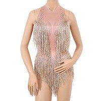 Glisten Beads Costume One piece Dance Wear Singer Stage Leotard Bodysuit Sexy Sparkly Gold Tassel Bodysuit Rhinestones Outfits
