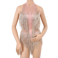 Glisten Beads Costume One piece Dance Wear Singer Stage Leotard Bodysuit Sexy Sparkly Gold Tassel Bodysuit Rhinestones Outfits