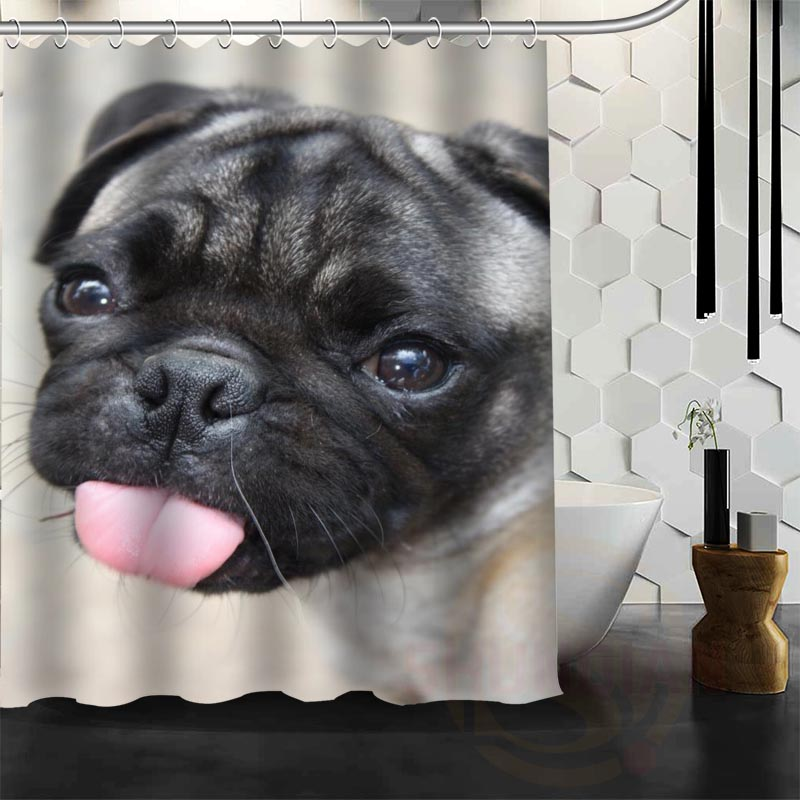Best Nice Custom Dogs Pug Puppy Shower Curtain Bath Waterproof Fabric For Bathroom MORE SIZE WJY13 In Curtains From Home Garden On