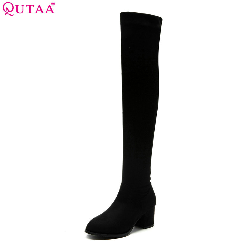 QUTAA 2019 Women Over The Knee High Boots Winter Warm Shoes Zipper Platform Elegant Sexy Women Motorcycle Boots Big Size 34-43QUTAA 2019 Women Over The Knee High Boots Winter Warm Shoes Zipper Platform Elegant Sexy Women Motorcycle Boots Big Size 34-43