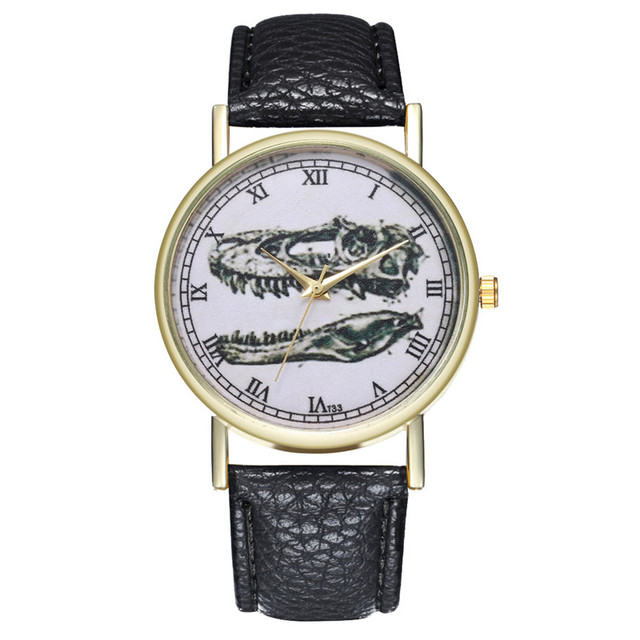 FUNIQUE Women's Bracelet Watch Couple Dinosaur Bone PU Leather Strap Wristwatch