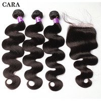 Объемная волна перуанские человеческие волосы пучки с завязкой натуральные волосы пучки Кружева Закрытие 3 шт Натуральные Цветные наращив