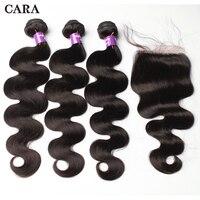 Перуанская человеческого тела волны пучки волос с закрытием Девы волос расслоения закрытие шнурка 3 шт. натуральный Цвет волос CARA