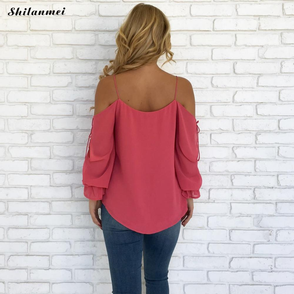 Chiffon Blouse 2018 Women Off Shoulder Tops Long Sleeve V Neck Work Wear Shirts Elegant Lady Blouses Casual Solid Color Blusas