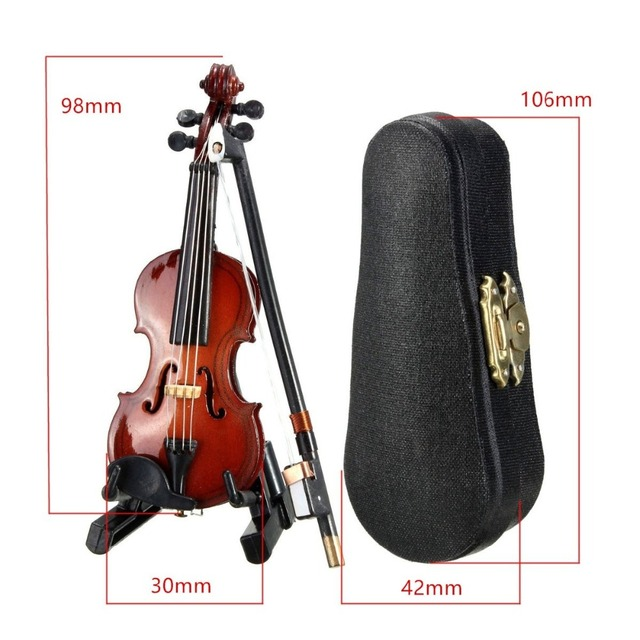 New Mini Violin Guitar Upgraded Version With Support Miniature Wooden Musical Instruments Collection Decorative Ornaments Model 3
