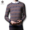 2016 New Men Round Neck Sweaters Pullovers Knitwear Men's Casual Fashion Slim Fit Large Size Long Sleeved Knitted Sweaters Male