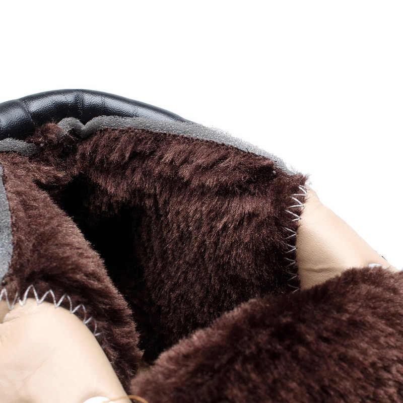 Mùa Đông Giày Nam Nóng Ấm Plus Bộ Lông Mùa Đông Ủng Giày Công Sở Nam Da PU Buộc Dây Cổ Chân quân Sự Giày Nam Plus Kích Thước