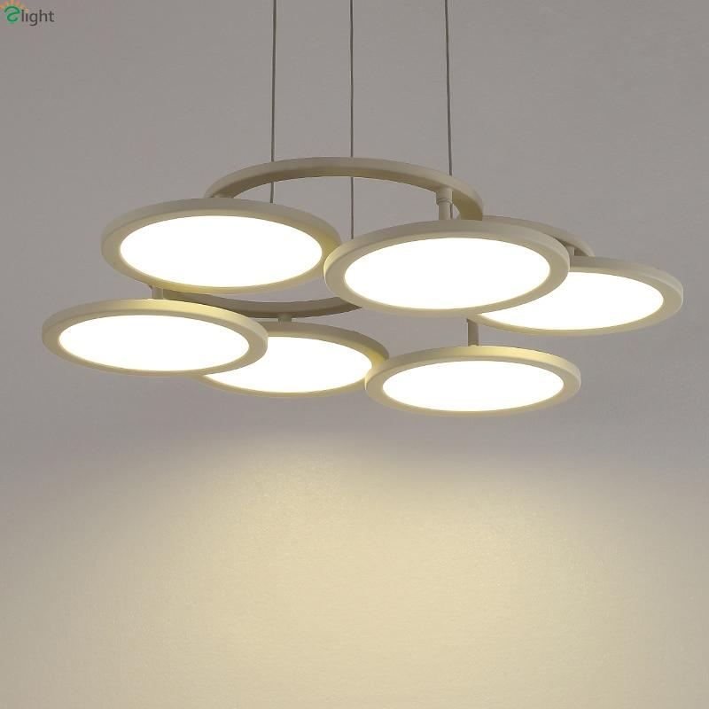 Acrylic Led Ring Chandelier Pendant Lamp Ceiling Light: Nordic Metal Ring Led Pendant Chandelier Lighting Lustre