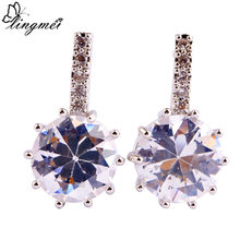 lingmei Fashion Women Earring Dazzling White CZ Stud Silver Color Earrings Wedding Engagement Jewelry Free Ship Wholesale(China)