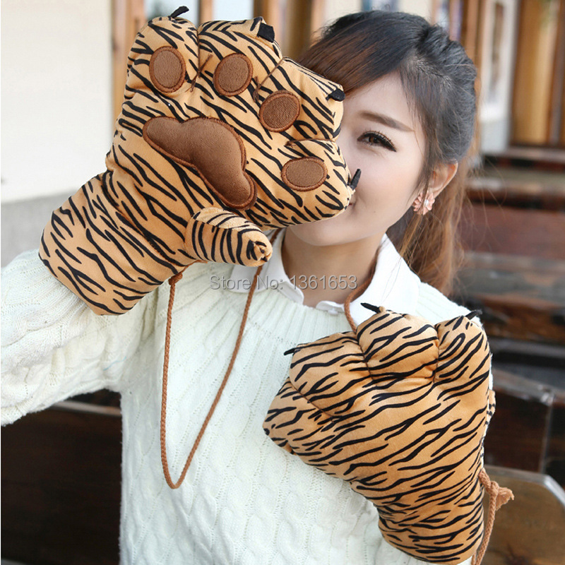 cartoon winter gloves more lovely and velvet hanging neck warm suddenly and violently claw wool gloves gloves PAWS