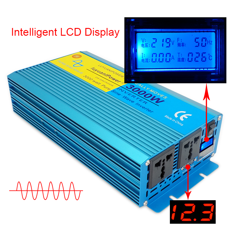 Digital Display PURE SINE WAVE POWER INVERTER 3000W DC 12V 24V To AC 110V 220V CAMPING