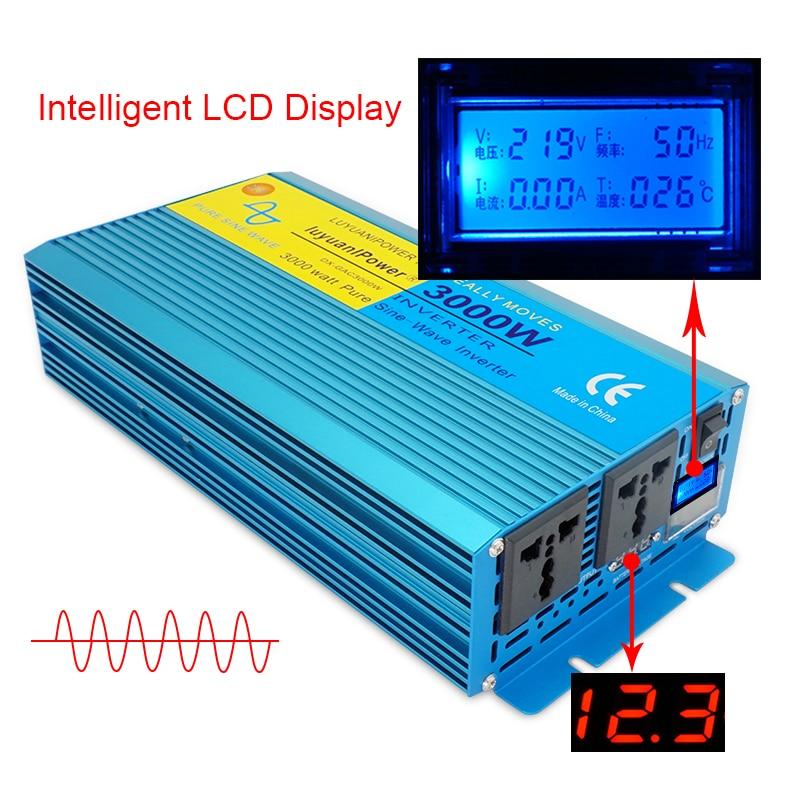 Inversor de potência de onda senoidal pura 3000 w dc 12 v/24 v para ac 110 v/220 v barco acampamento conversor com display lcd 2 ac para fora