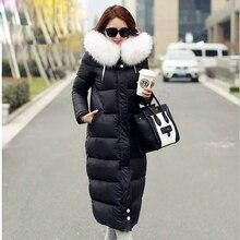 Winter duck coat women Warm jackets coat Hooded jacket Female Warm Long raccoon fur Thick Wadded duck down Jacket Coat plus size