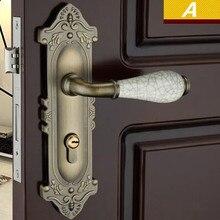 Ретро Стиль античная латунь керамические механический немой панель Ручка замок, бронза спальня кухня ванная комната твердые деревянные двери замок