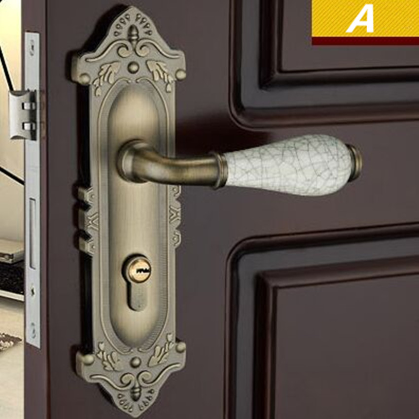 Retro style antique brass ceramic mechanical mute panel handle lock, bronze bedroom kitchen bathroom solid wooden door lock