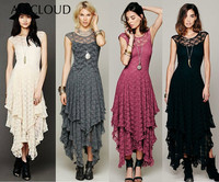 AI&CLOUD Elegant Asymmetrical Boho People Hippie Lace Summer Dress Women Sexy Sheer Double Layered Ruffle Party Long Vestidos