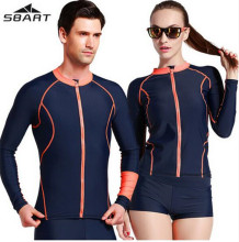 SBART Long Sleeve Men Womne Sun Protection Rashguard Quick Dry  Swimming Tops Bathing Bodysuit Tight Swimwear