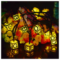 Solar String Lights 15 5ft 20 LED 8 Modes Letters Fairy Lights For Holiday Patio Landscape