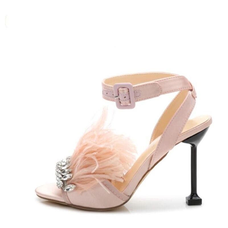 2017 new fashion Summer diamond wedding shoes feather princess high heels peep-toe sandals are sexy diamond-studded women sandal female summer wedding sandals 2016 new korean fashion diamond open toed sandal sexy shoes women gold purple sky blue